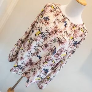 H&M Floral and Bird Print Longsleeve Top - Size M